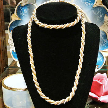 Trifari Necklace Faux Pearls Gold Chain Twisted Intertwined Rope 30 INCHES Retro Circa 1970s Designer High Fashion Jewelry Necklace Trifari