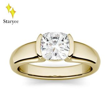 Test Positive 1.1ct 6mm Excell Cut Moissanite Solitaire Ring Real 18KT Au750 Rose Gold Lab Diamond Engagement Ring Fine Jewelry