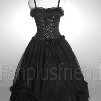 Elegant Gothic Chiffon Puffy Dress Dress&Corset