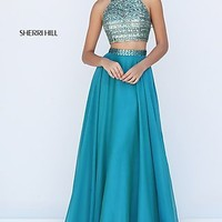 Sherri Hill Long Two Piece High Neck Prom Dress
