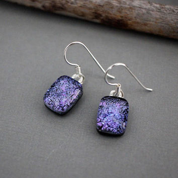 Sterling Silver Dangle Earrings - Purple Earrings - Unique Earrings for Women - Purple Dangle Earrings - Christmas Gift Idea For Women