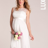 Luxe Ivory Lace Trim Dress