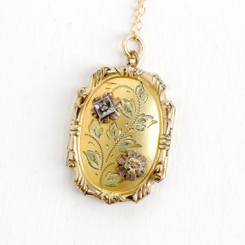 Vintage Art Deco Era Diamond & Flower Locket Pendant Necklace - Antique 10k Gold Filled Repousse Rose Tone Floral Design 1930s 1940s Jewelry