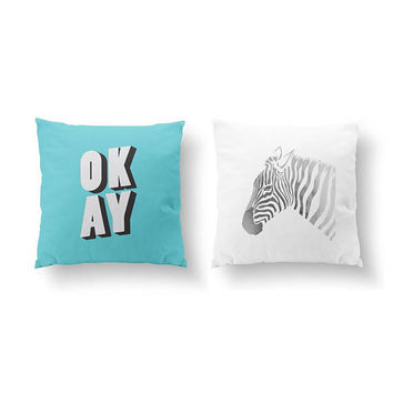 SET of 2 Pillows, Okay Pillow, Zebra Pillow, Gold Pillow, Kids Room Decor, Bed Pillow, Throw Pillow, Cushion Cover, Funny Pillow, Baby Art