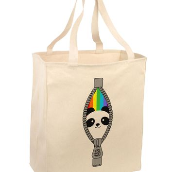 Rainbow Panda Peeking Out of Zipper Large Grocery Tote Bag by TooLoud