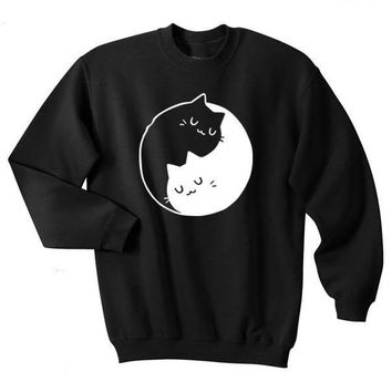 Vintage Retro Cat Kitten Yin Yang Shirt Gift Shirt Gift Top Crewneck casual tops aesthetic moletom do tumblr pullovers Jumper