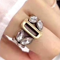Free shipping-Dior new personality D letter retro rhinestone ring