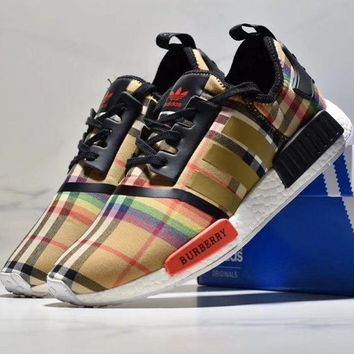 Burberry ADIDAS NMD NEW FASHION COUPLE PLAID ENERGY BOOST 2 ESM Gym shoes