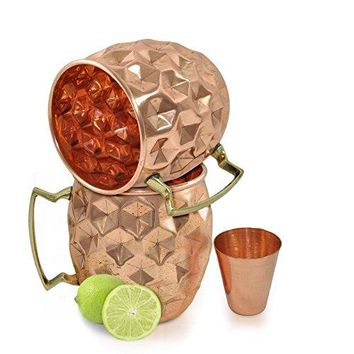 Set of 2 Dungri India regSolid Copper Mugs with 1 Copper Shot Glass Copper Moscow Mule Mug  Diamond Hammer Barrel Cups  Cocktail CupsGlasses