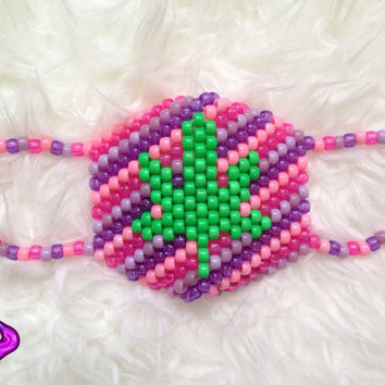 Pink and Purple Pot Leaf Kandi Mask, Weed Leaf Kandi, Marijuana Kandi, Surgical Kandi Mask, Neon Rave Gear, EDM Rave Wear, Festival Kandi