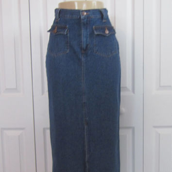 Vintage Long Denim Skirt,  Womens 4 Petite,  Denim Maxi Skirt, Fly Front Slit Front Denim Pencil Skirt, 80s 90s Grunge, Bill Blass