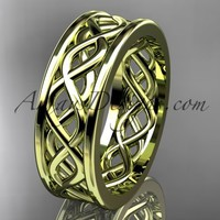14kt yellow gold vine wedding band, engagement ring ADLR257G
