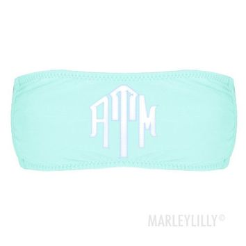 Monogrammed Bathing Suit Bandeau Tube Top   Marley Lilly