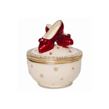 Small Red Shoes Enameled Trinket Box
