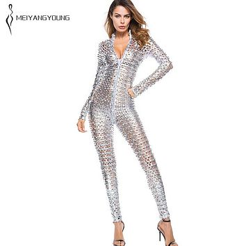 MEIYANGYOUNG Fashion Women Silver Hole Long Sleeve Faux Leather Sexy Jumpsuit Lady Costumes Nightclub Party Golden Overalls