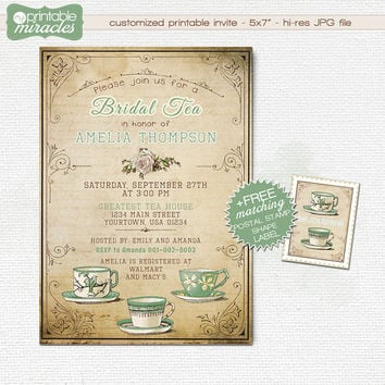 Green mint bridal shower tea party invitation, Bridal tea invites, Vintage Bridal tea party invitations, Shabby Chic bridal shower invite