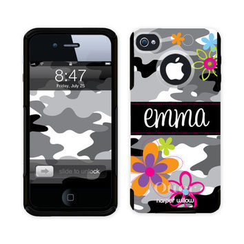 iPhone 4   5 Otterbox Commuter Custom Phone Case Personalized Monogram -  Charming Camo 2100 6598a6401