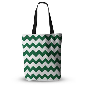 "KESS Original ""Candy Cane Green"" Chevron Everything Tote Bag"