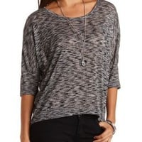 Marled High-Low Dolman Top by Charlotte Russe - Black Combo