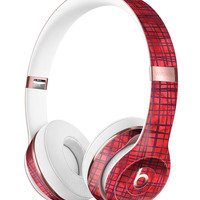 Red and Purple Watercolor Cross Hatch Full-Body Skin Kit for the Beats by Dre Solo 3 Wireless Headphones
