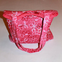 Quilted Handbag -Mothers Day Gift -  Lined with Pockets - Extra Long Straps - Pink