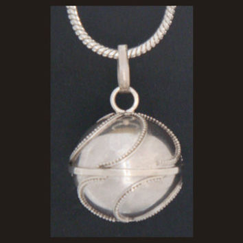 Harmony Ball Solid Sterling Silver Outer Case with Swirl Patterns Resembling Waves Breaking. Bola Necklace Angel Caller Pregnancy Gift 244