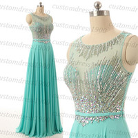 Light Blue Cap Sleeve Evening Dress,Handmade Beading/Crystal Chiffon Long Formal Women Evening Gowns/Party Dress/Prom Dress
