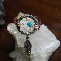 Tribal Dream Catcher Ring With Nacozari Turquoise in The Native Inspired Tribal Boho Hippi Hipster Style