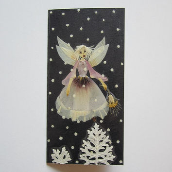 "Handmade unique Christmas greeting card ""Follow The Light"" - Decorated with dried pressed flowers and herbs - Original art collage."