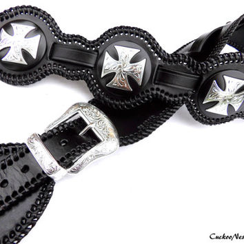 Leather Guitar Strap with Conchos Western Guitar Strap, Rocker Style Guitar Strap, Custom, Handmade Guitar Strap, Black