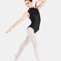 Free Shipping - High Neck Flocked Tank Leotard by MOTIONWEAR