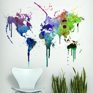 Modern , Urban and Contemporary - Watercolor World Map - Wall Decals , Home WallArt Decals