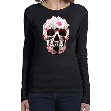 Buy Cool Shirts Daisy Skull Ladies Long Sleeve Shirt
