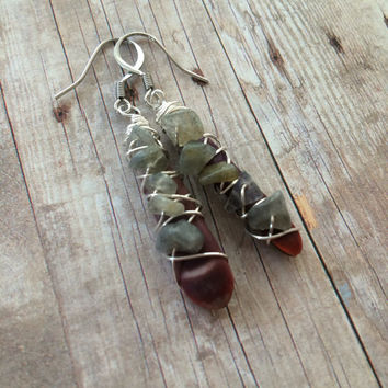 Labradorite Wire Wrapped Urchin Earrings Sea Urchin Quill Earrings Natural Boho Earrings Gemstone Dangle Earrings Labradorite Earrings(E311)