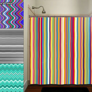 turquoise and black shower curtain. Any Color Stripe Wave Chevron Shower Curtain bathroom decor fabric kids  bath white black custom duvet Best Black And White Products on Wanelo