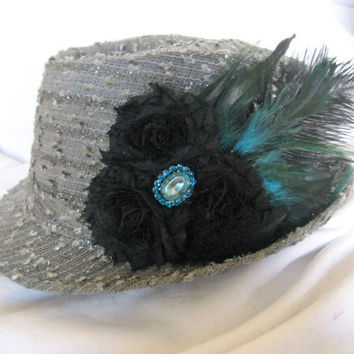 Fedora Hat  in Grey with Black Shabby Frayed Flowers  Saddle Badger Rooster Feathers and a Black Ostrich Feather with Rhinestone Accent