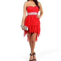 Red Beaded Hi Lo Dress