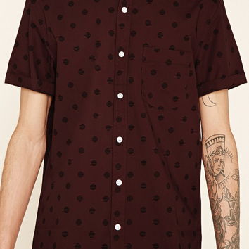 Striped-Dot Print Pocket Shirt