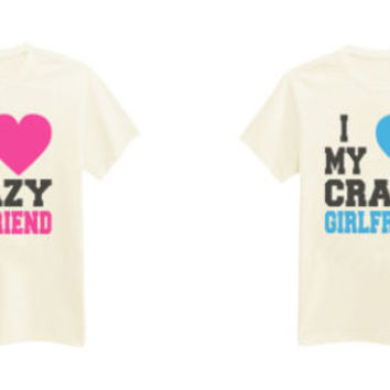 CPL-016 - I Love My Awesome Boyfriend / I Love My Awesome Girlfriend - Couple T-Shirts - Printed T-Shirt - by HeartOnMyFingers
