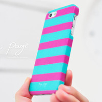 Apple iphone case for iphone iphone 3Gs iphone 4 iphone 4s iPhone 5 : Horizontal stripes(Pink and Turquoise color )
