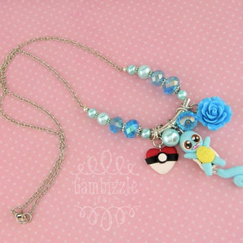 Custom pokemon necklace, Squirtle necklace, Squirtle charms, Pokeheart charm, Custom pokemon