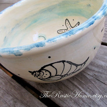 Seashell bowl beach themed bowl starfish shells ocean sea nautical dinnerware made to order chowder soup cereal ice cream bowl