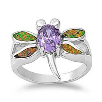 Sterling Silver Dragonfly CZ Amethyst CZ 17MM Black Lab Opal Ring
