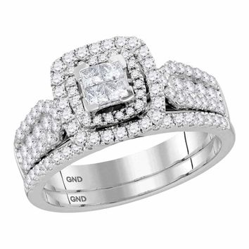 14kt White Gold Women s Princess Diamond Cluster Halo Bridal Wedding  Engagement Ring Band Set 1.00 Cttw 64252c483