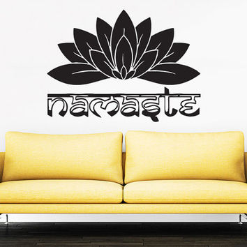 Wall Decal Namaste Vinyl Sticker Decals Art Home Decor Mural Mandala Ornament Indian Geometric Moroccan Pattern Yoga Lotus Flower Om #15