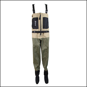 Chest fishing wader with metal zipper, breathable wader with neoprene socks for rafting use