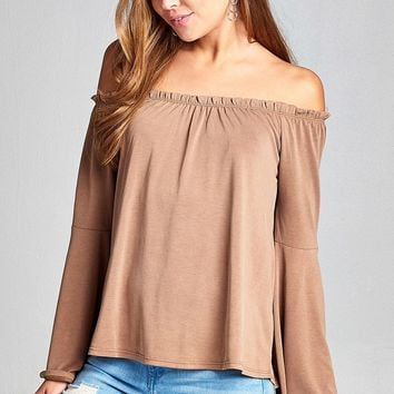 Ladies Fashion Bell Sleeve off the Shoulder Sandwashed Modal Jersey Top