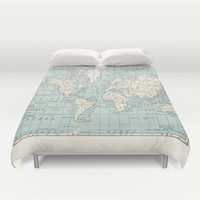 World Map Duvet Cover - bed - bedroom, travel decor, cozy soft, blue and cream, winter, warm, wanderlust