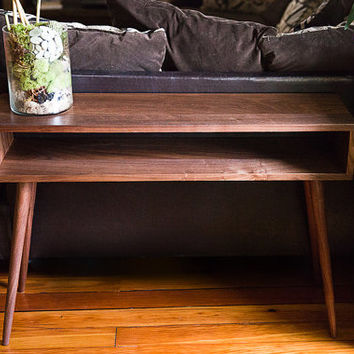 Mid Century Inspired Console. Solid wood Side Table, Plant Stand