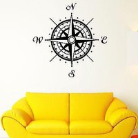 Wall Decal Compass Cardinal Points Orientation Landmark Vinyl Stickers Unique Gift (ed170)
